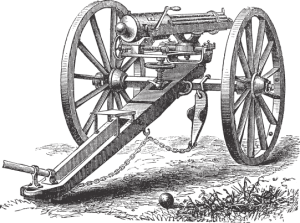 Drawing of a Gatling Gun from the Cody Firearms Experience billboard on Yellowstone Ave